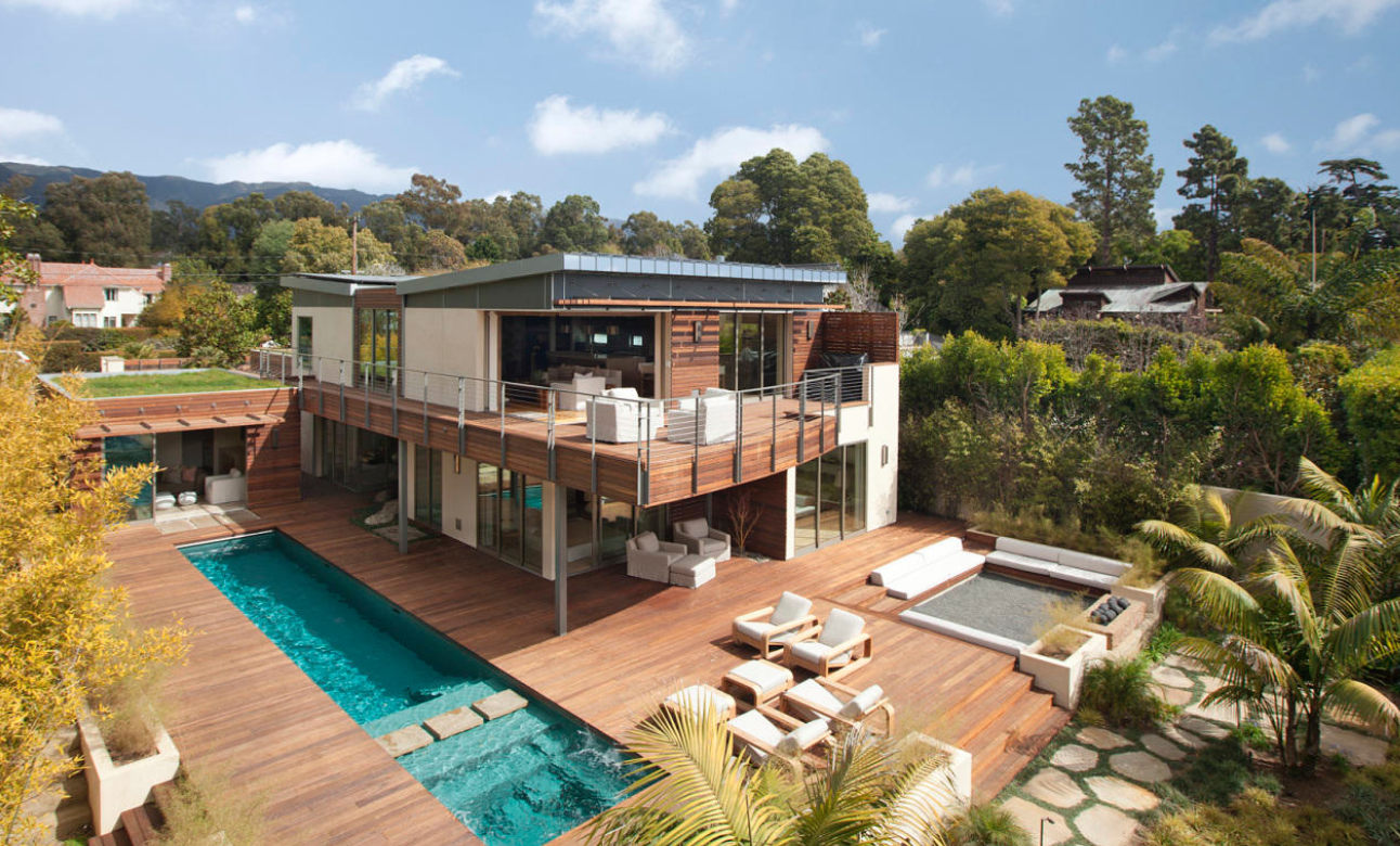 modern design near butterfly beach certified leed platinum rated green 4 bed suites plus cabana pool spa private gardens and brazilian hardwood - Modern Style Home